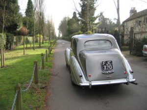 Wedding cars surrey bentley r type rear view